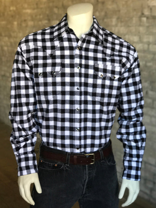 Rockmount Men's Plush Flannel Black & White Plaid Western Shirt - Rockmount