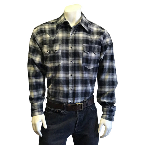 Men's Plush Flannel Black & White Plaid Western Shirt