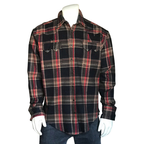 Men's Plush Flannel Brown & Black Plaid Western Shirt