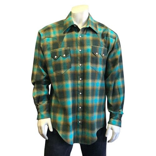 Men's Plush Flannel Green & Yellow Plaid Western Shirt