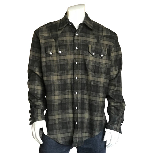 Men's Plush Flannel Olive & Grey Plaid Western Shirt