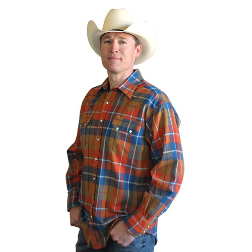 Men's Plush Flannel Orange & Blue Plaid Western Shirt