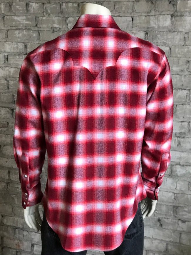 Rockmount Men's Plush Flannel Plaid Red Western Shirt - Rockmount