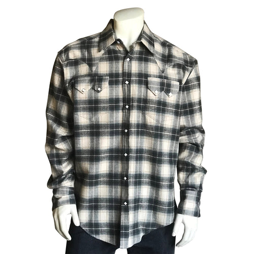 Men's Plush Flannel Sage & Grey Plaid Western Shirt