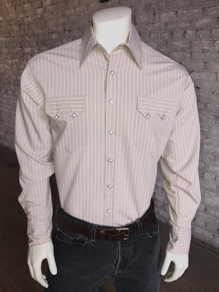 Men's Coral Serape Stripe Western Shirt