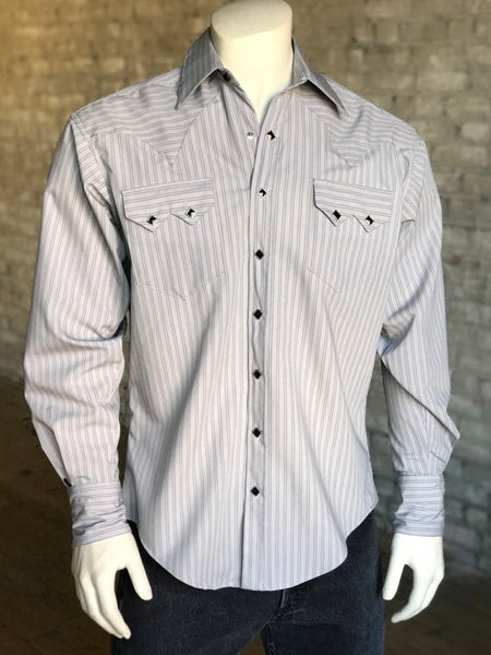 Men's Fine Cotton Stripe Western Dress Shirt in Blue