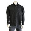 Men's Classic Black Linen Western Dress Shirt