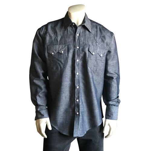 Men's Classic Indigo Linen Blend Western Dress Shirt