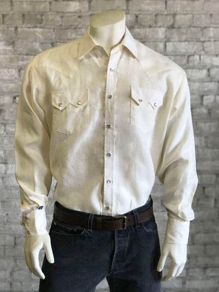 Men's White and Blue Extra Fine Pima Cotton Windowpane Plaid Western Shirt