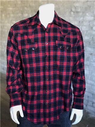 Men's Plush Flannel Black Plaid Western Shirt