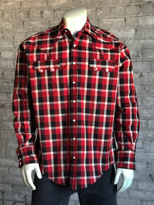 Men's Heavy Red Plaid Western Shirt
