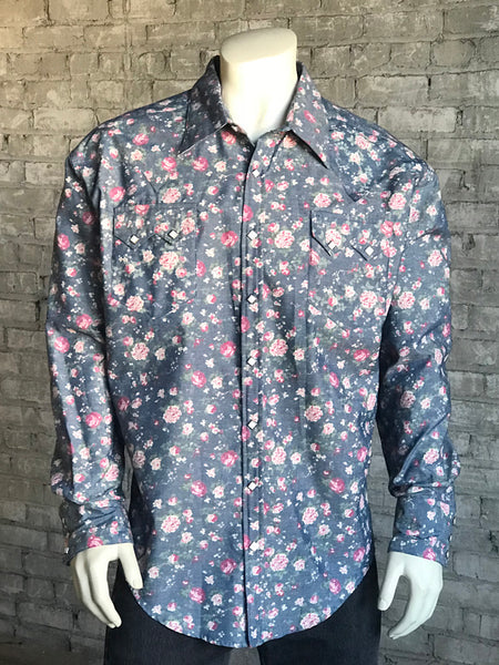 Women's Midnight Blue Floral Print Western Shirt