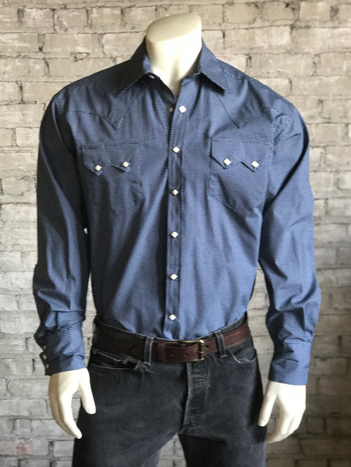 Men's Blue & Grey Mini Check Western Shirt - Rockmount