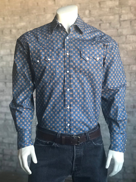 Men's Blue Geometric Print Western Shirt