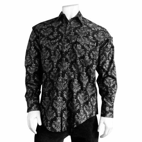 Men's Charcoal Skulls & Moths Print Western Shirt