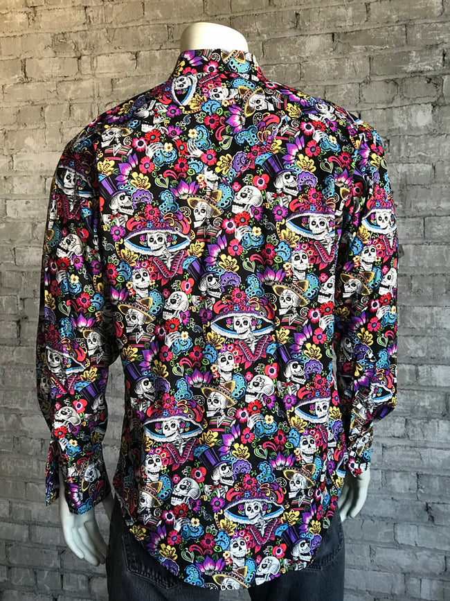 Men's Black Day of the Dead Print Western Shirt - Rockmount