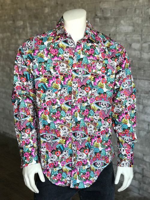 Men's Day of the Dead Print Western Shirt