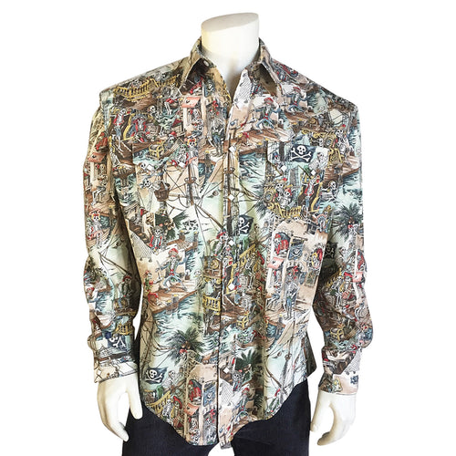 Men's Dead Pirates of the Caribbean Print Western Shirt