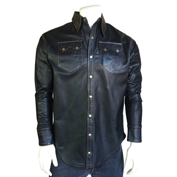 Men's Slim Fit Calf Skin Leather Western Shirt in Charcoal Black