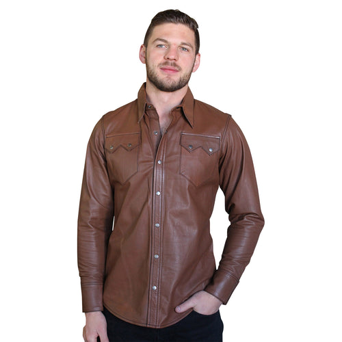 Men's Slim Fit Calf Skin Leather Western Shirt in Khaki Brown