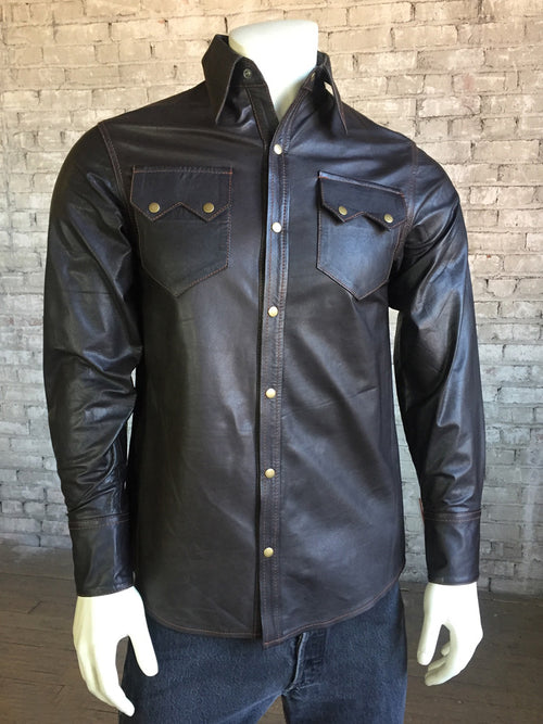 Men's Slim Fit Calf Skin Leather Western Shirt in Dark Brown