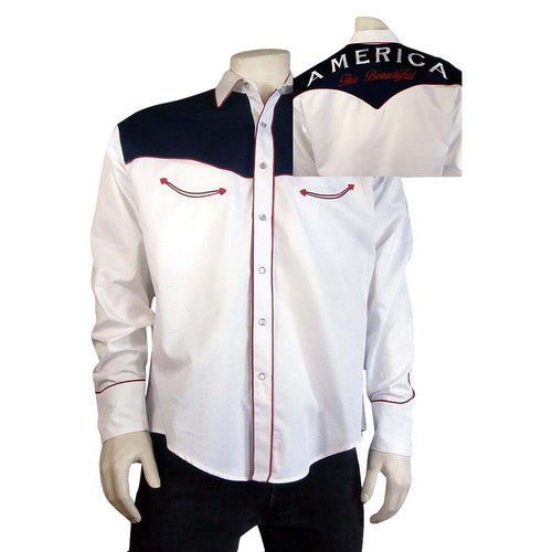 Men's America the Beautiful Embroidered Western Shirt