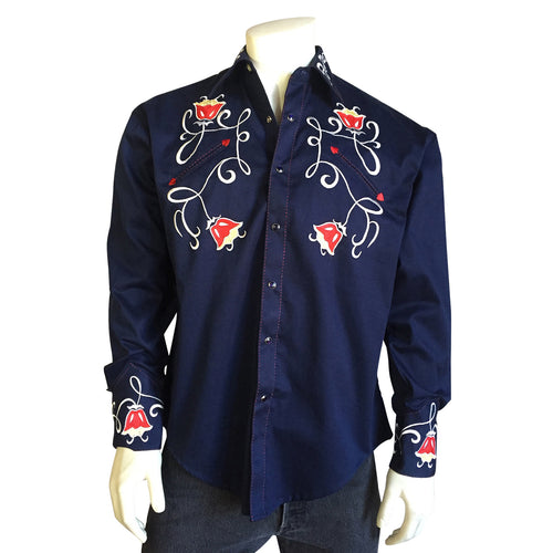 Men's Art Deco Floral Embroidery Navy Western Shirt