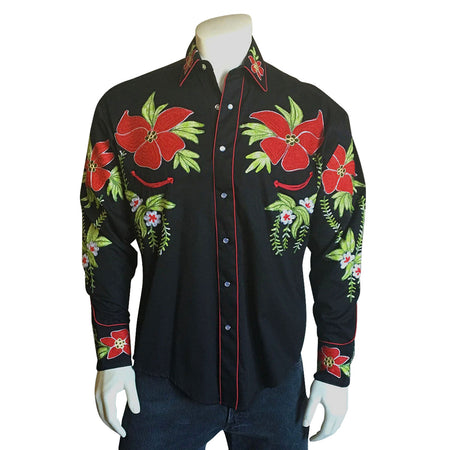 Men's Vintage Fringe Red Embroidered Western Shirt