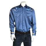 Men's Native Feathers Embroidered Blue Western Shirt