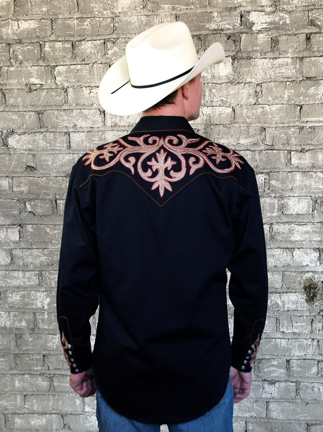 Men's Tooled Embroidery Cotton Gabardine Western Shirt - Rockmount