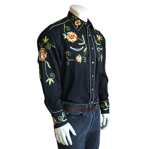 Men's Floral Embroidery Cotton Gabardine Black Western Shirt