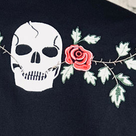 Men's Skull & Rose Vintage Embroidered Western Shirt