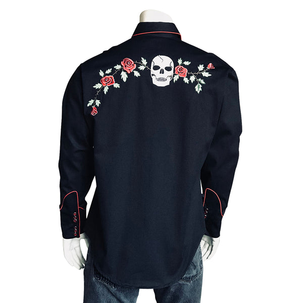 Men's Skulls & Roses Vintage Embroidered Western Shirt