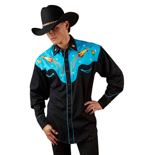 Men's 2-Tone Space Cowboy Embroidered Western Shirt