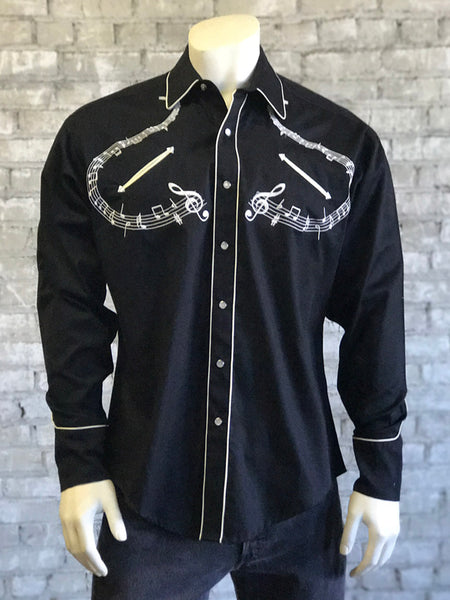 Men's Black Embroidered Music Western Shirt - Rockmount