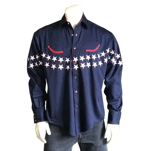 Men's Americana Flag Embroidered Western Shirt in Navy
