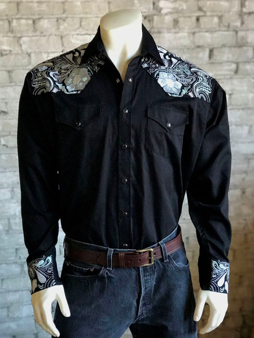 Men's Vintage 2 Tone Embroidered Black Western Shirt in Black - Rockmount