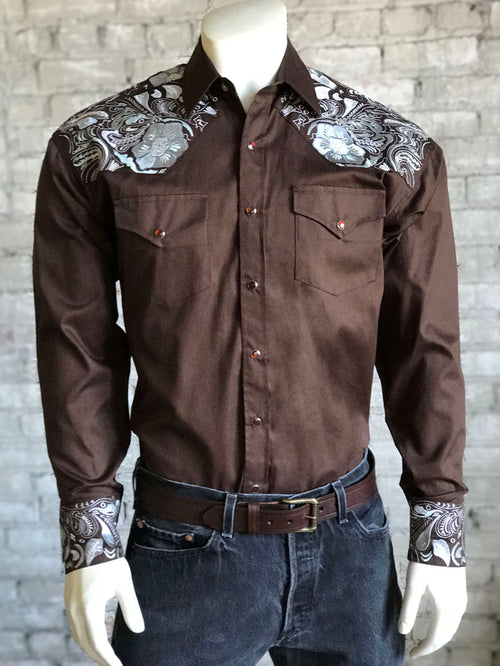 Men's Vintage 2 Tone Embroidered Brown Western Shirt - Rockmount
