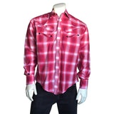 Men's Red Guitars Plaid Applique & Saddlestitch Western Shirt