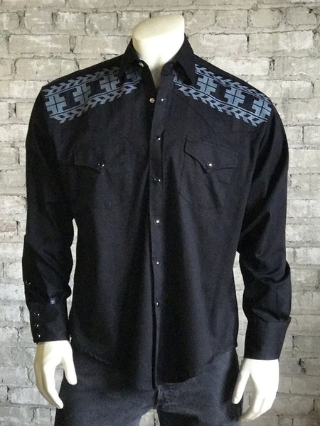 Men's Black Crossroads X Stitch Embroidered Western Shirt - Rockmount