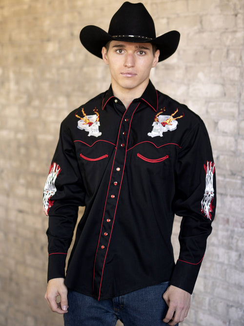 Men's Flaming Skulls Embroidery Cotton Gab Western Shirt - Rockmount
