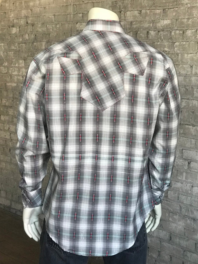 Men's Grey Shadow Plaid Western Shirt - Rockmount