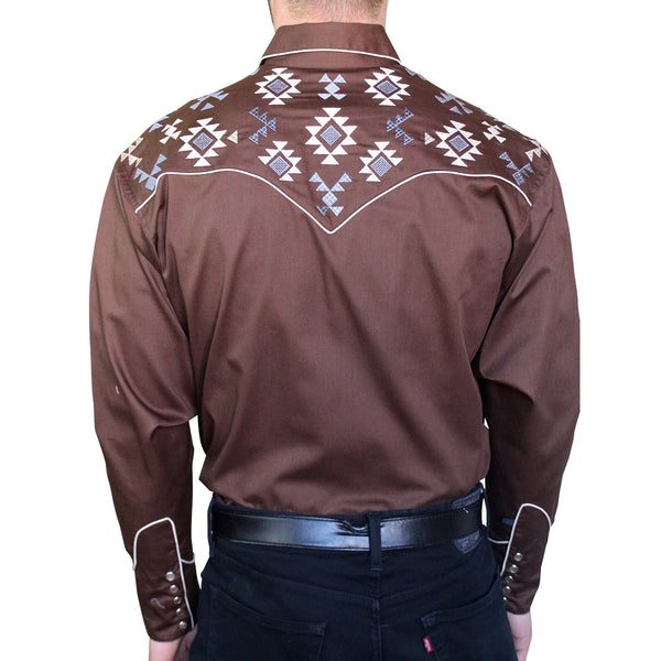 Men's Native Pattern Brown Embroidered Western Shirt
