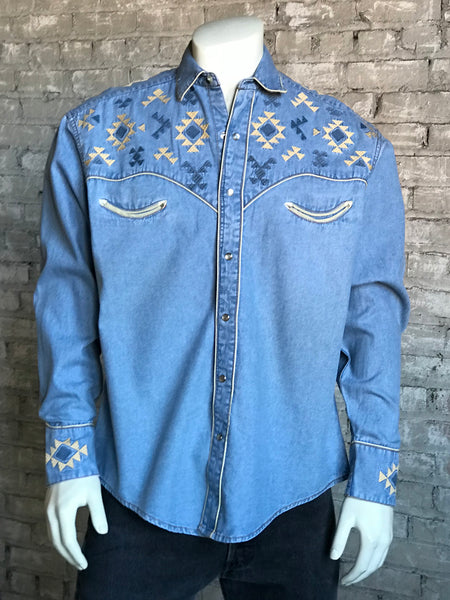 Men's Denim Vintage Shirt with Red Floral & Turquoise Embroidery