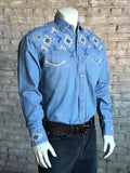 Men's Denim Native Embroidered Western Shirt