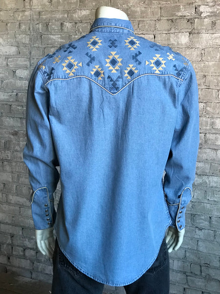 Men's Denim Native Embroidered Western Shirt - Rockmount