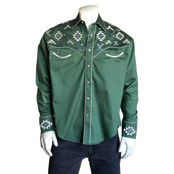 Men's Native Pattern Green Embroidered Western Shirt