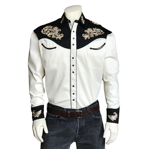 Men's Vintage Khaki & Black Western Shirt with Floral Embroidery