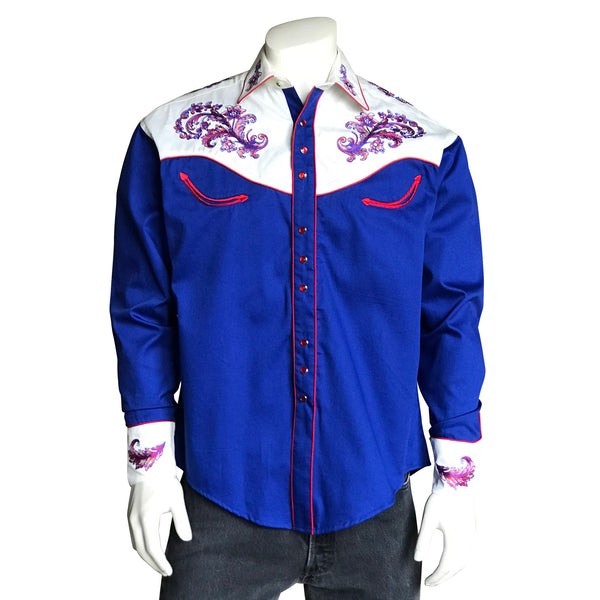 Men's Vintage Royal Blue & White Western Shirt with Floral Embroidery