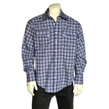 Men's Navy Plaid Quarter Horse Western Shirt
